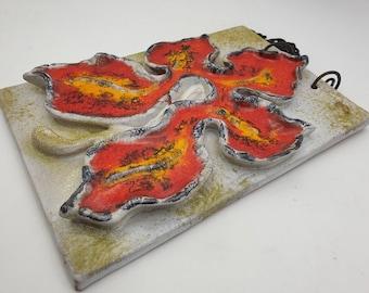 Carstens wall plaque ceramic picture wall tile orange fat lava 70s designclassics24