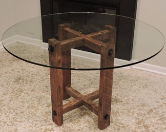 Rustic,Barn Wood Dining Table Reclaimed Base. Glass Top. Threaded Rod  Mortise And Tenon