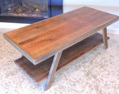 Barn Wood Coffee, Custom Table, Two Tier, Angled Base. Reclaimed Salvaged Timbers.