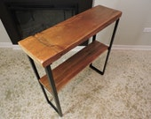 Barn Wood Console table, Uniquely Worn Rustic top, 2 tier,  Custom metal base. Uniquely worn Top.