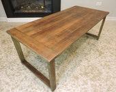 BarnWood, Rustic Coffee Table. Reclaimed, Salvaged Barn Wood Top. Solid Barn Wood Base