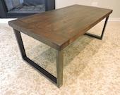 BarnWood, Rustic Coffee Table. Reclaimed, Salvaged Barn Wood Top. Raw steel, Industrial base.