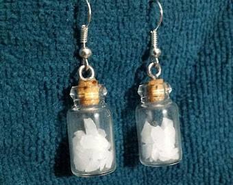 Glow Glass Bottle Earrings, Glow in the Dark Earrings, Fairie bottle Earrings, FREE GIFT