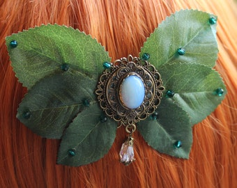 Foliage Ribbon III' Fairy Hair Comb with Glass Stone & Art Leaves