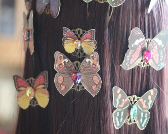 Lepidoptera' butterfly hair comb with rhinestones