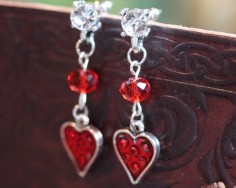 Queen of Hearts~ Heart Studs with Rhinestone in Red Silver