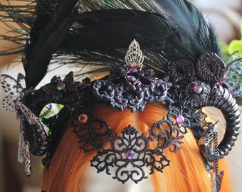 Caprini's Horns Headpiece in Black Purple with Feathers