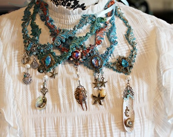 Neptune's Daughter II~ Ornament Mermaid Necklace with Sea Finds