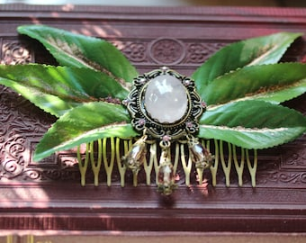 Foliage Ribbon V~ Fairy Leaves Hair Comb with Rose Quartz Cabochon & Glass Beads