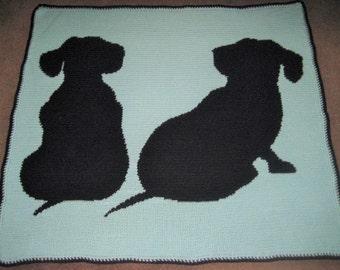 ed6aa18f2f37 Dachshund Silhouettes Crocheted Blanket