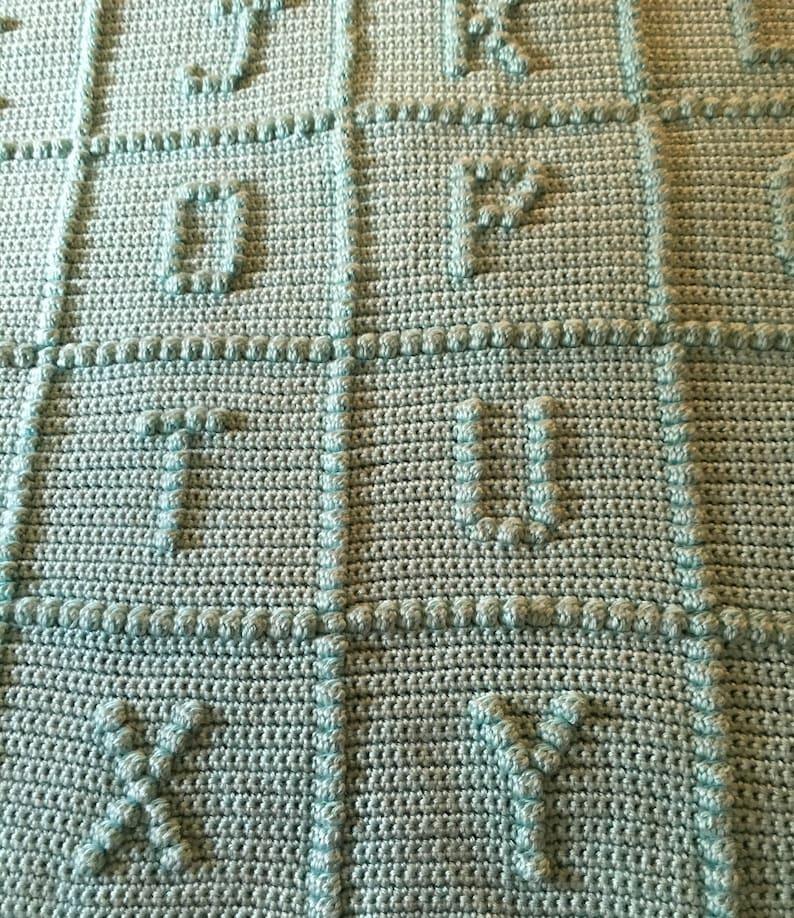ABC Crocheted Blanket in Light Teal Green