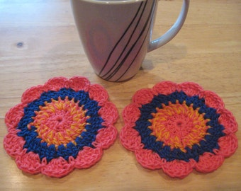 Set of 2 Crocheted Cotton Coasters