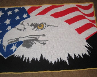 Patriotic Flag and Eagle Crocheted from a Custom Word Chart