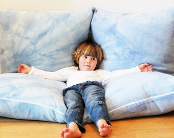 Blue Giant cushions zipped together