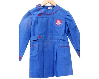 """VTG // french 50s new old stock  school SMOCK // vintage  french """" blouse """" // size 3/4 years old"""