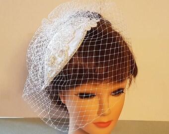 cd8c6377e Bridal birdcage veil & hat. Vintage inspired 1920s hat fascinator veil. 2  Pc Bridal accessories Hair piece, crystal Rhinestone pearls
