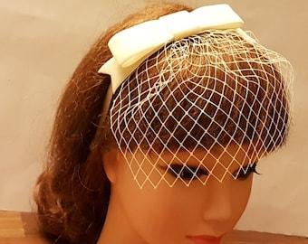 Bridal mini Birdcage veil,  Blusher Veil.White-vory-birdcage veil Headband Bridal headpiece w  Velvet Bow
