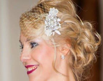 Birdcage veil fascinator, 1920's Boho Gatsby Wedding Lace Crystal Hair Clip,  Blusher,  Bandeaue style veil, Blusher veil & fascinator 2PC