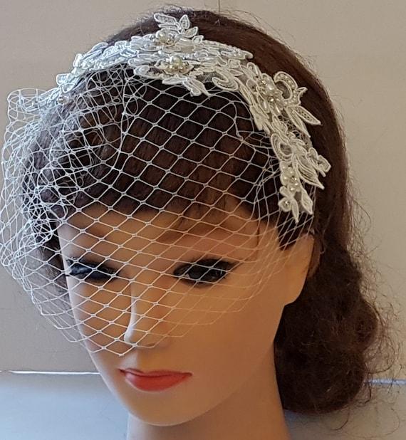 Bridal birdcage veil Wedding blusher veil 10 FrenchRussian Net White birdcage veil  Ivory birdcage veil Bridal face veil Bridal accessory
