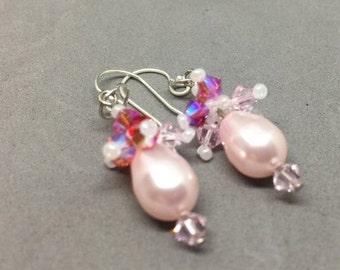 Pretty Pink Pearl Earrings
