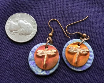 Dragonfly Charm and Artisan Clay Disc Earrings