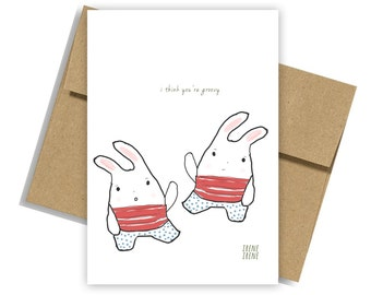 Funny Love Card, Funny Anniversary Card , funny retro card, I think you're groovy,Kawaii