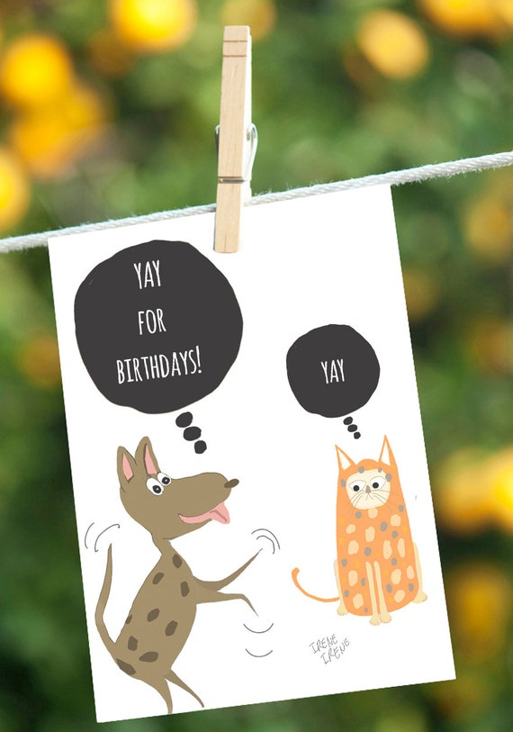 Funny Birthday Card Dog Cards Cat Cards Birthday Card For Etsy