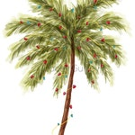 Christmas Tree clip art, Beach Christmas tree, christmas tree clipart, palm tree clip art, commercial use, christmas watercolor clipart