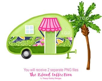 Glamping, vintage camper, Preppy clip art, camper clipart, tropical clip art, palm tree clip art, preppy alligator