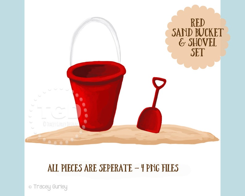 Red Sand Bucket and Shovel Clip Art Set Beach clip art sand image 0