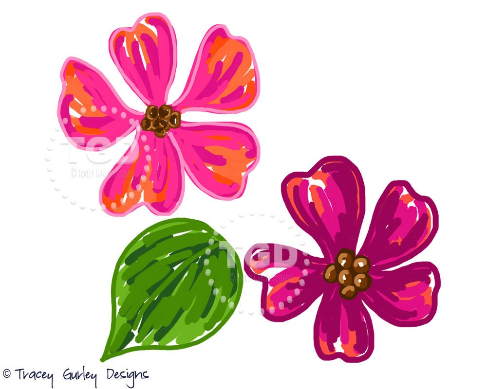 Pink Flower Clipart Watercolor Flower Clip Art Dogwood Etsy