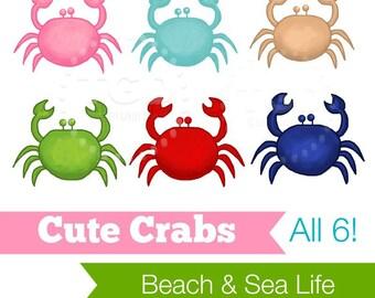 Preppy Cute Crabs, set of 6 - Original art download, crab clip art, beach art, crab printable