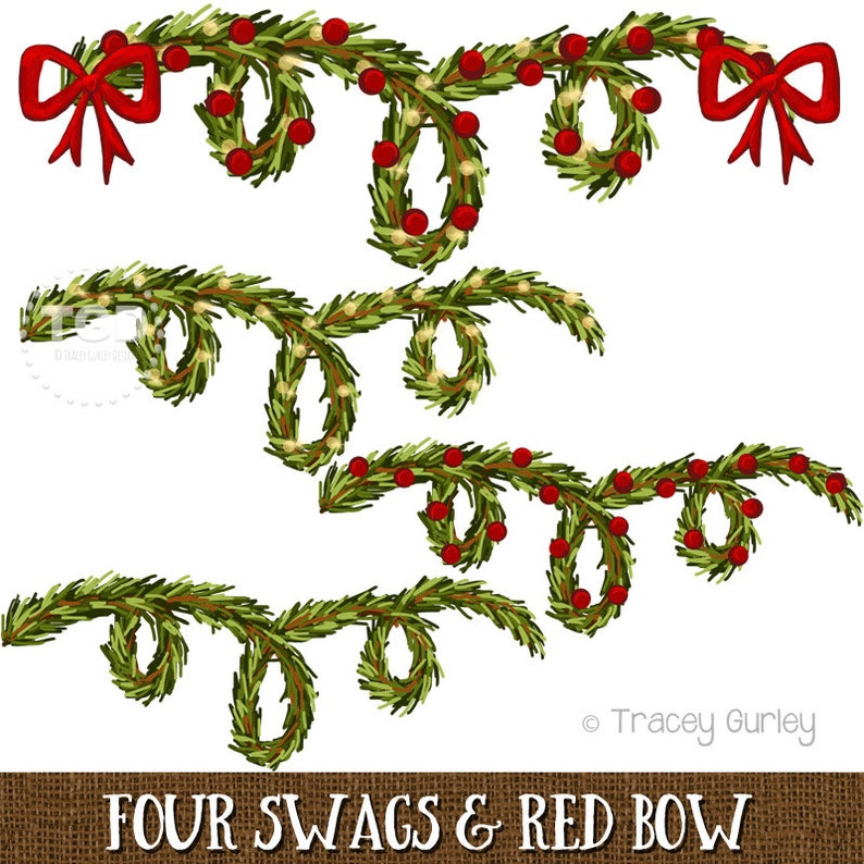 Greenery Swags and Red Bow  4 swag styles  Christmas image 0