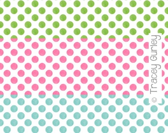 Pink, Green, and Turquoise Watercolor Small Polka Dot Pattern Repeat on White - Original Art download, polka dot printable paper