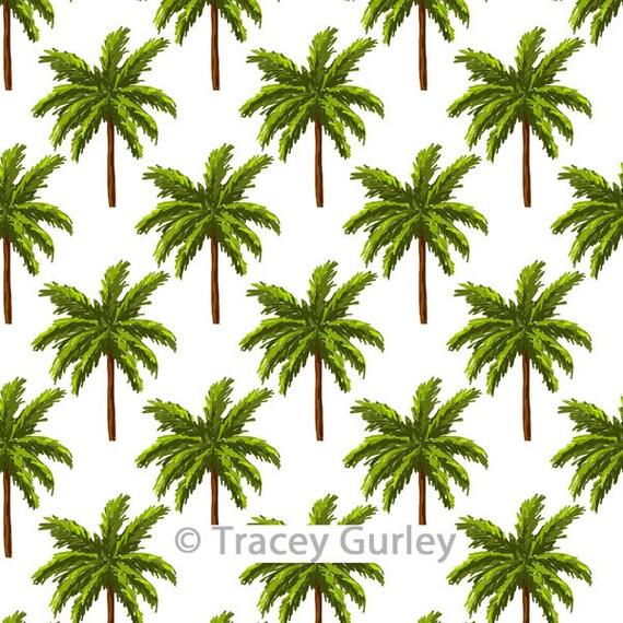 Palm Tree Pattern Repeat on White - Original Art download, palm tree  printable paper, palm tree digital paper