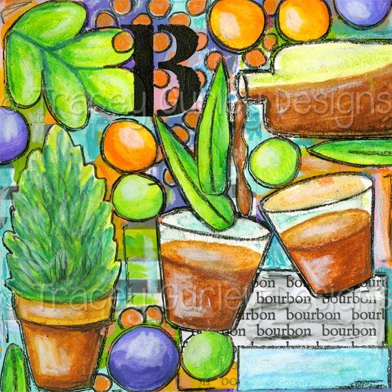 Bourbon Art Bourbon Glass Bourbon Gift Bourbon Printable Digital Print Art Journal Art Journal Pages Art Journal Download Scrapbook