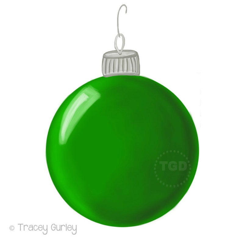 Green Christmas Ornament Clip Art  Hand Painted Clip Art image 0