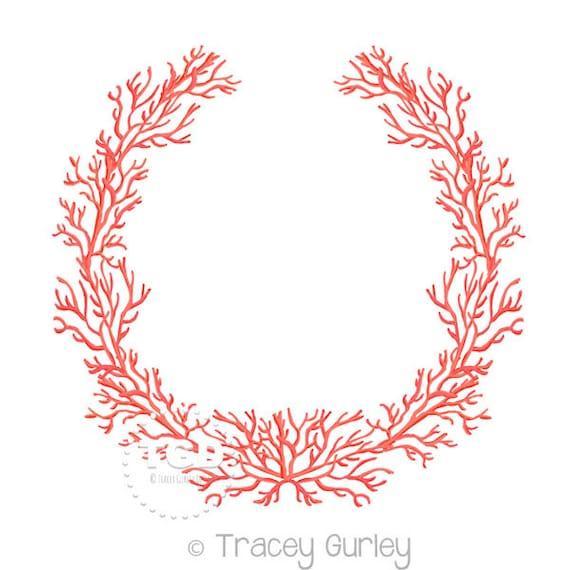 Marco marco coral descargar Arte Original guirnalda coral | Etsy