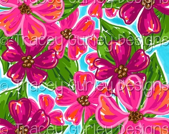 Preppy Pink Flowers digital paper, dogwood flowers, watercolor digital paper, preppy digital paper, floral digital paper, digital background