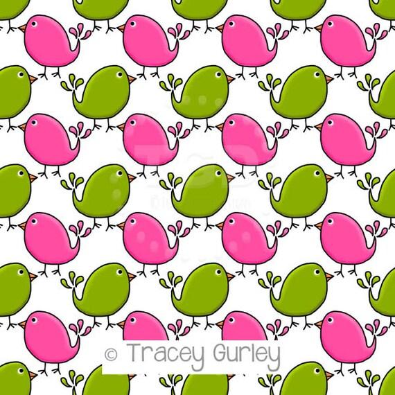 preppy cute birds pink and green digital paper preppy etsy