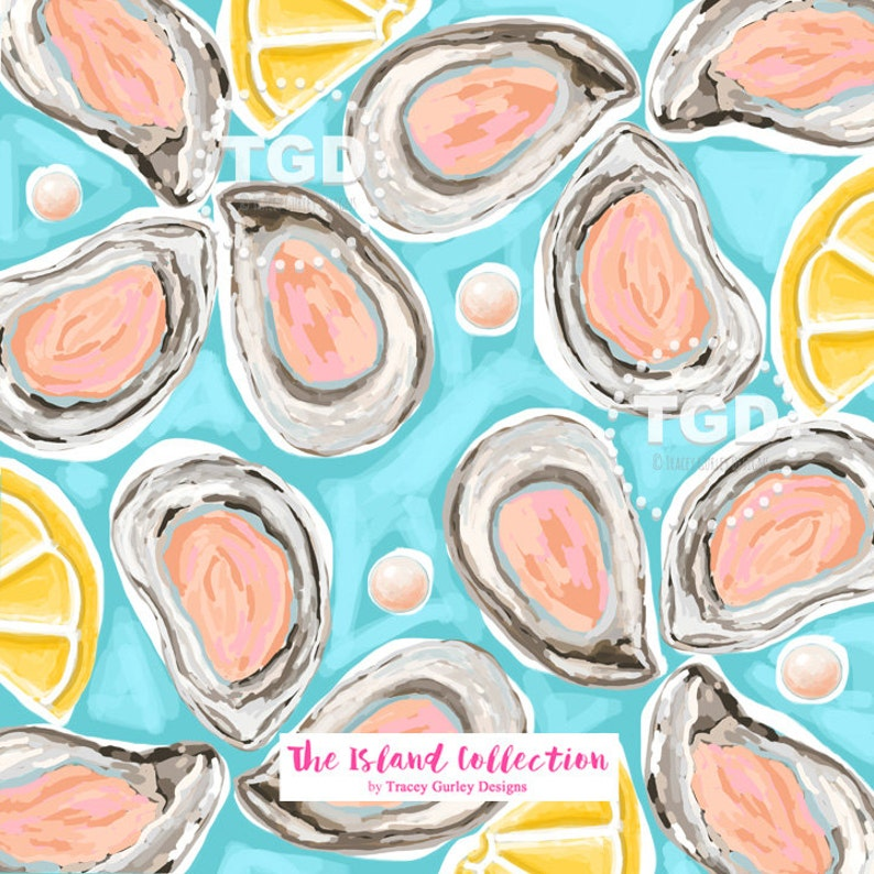 Oysters on the half shell on blue digital paper invitation art oyster digital paper The Island Collection preppy oyster paper