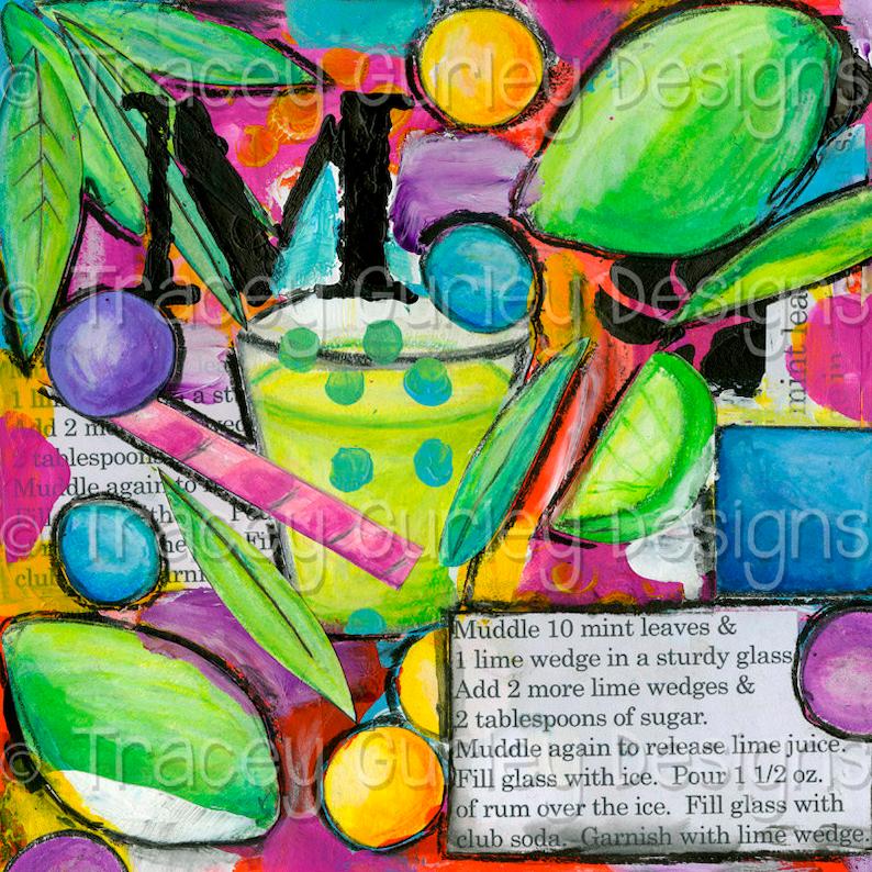 Mojito Print Mojito Bar Sign Art Journal Art Journal Pages Art Journal Download Digital Scrapbooking Digital Download Tropical Digital
