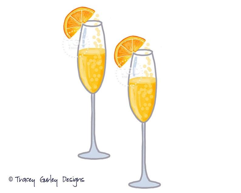 Mimosa Clip Art Champagne clip art watercolor clip art image 0