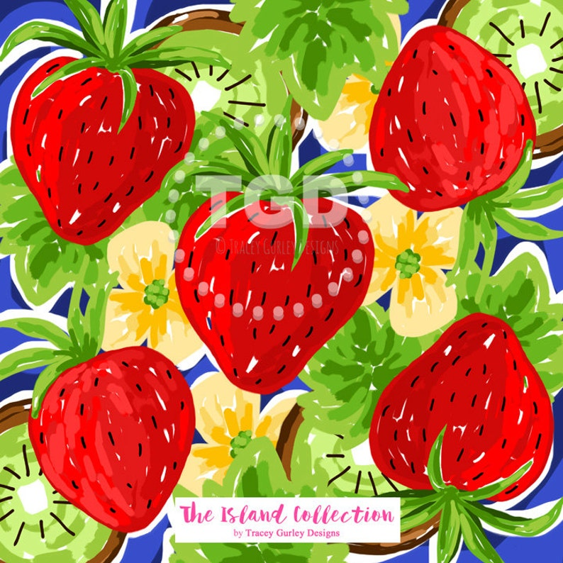 Preppy Strawberry Kiwi red green and navy digital paper  image 0
