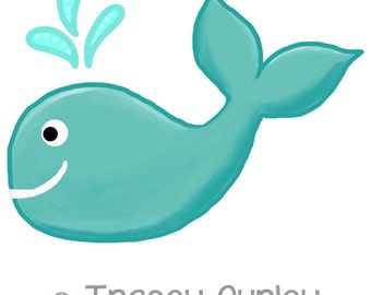 Turquoise Whale Original Art download, turquoise whale clip art