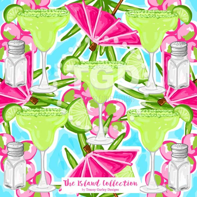 Preppy Margarita digital paper  Original Art download pink image 0