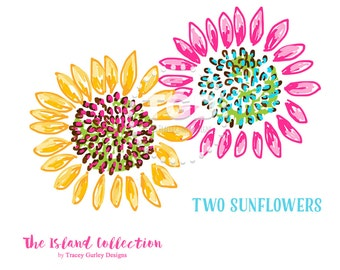 Preppy Sunflowers clip art - Original Art download, whimsical sunflower clip art, preppy clip art, The Island Collection
