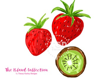 Preppy Strawberry Kiwi clip art, Original Art, strawberry clipart, invitation clipart, watercolor clipart, digital clipart