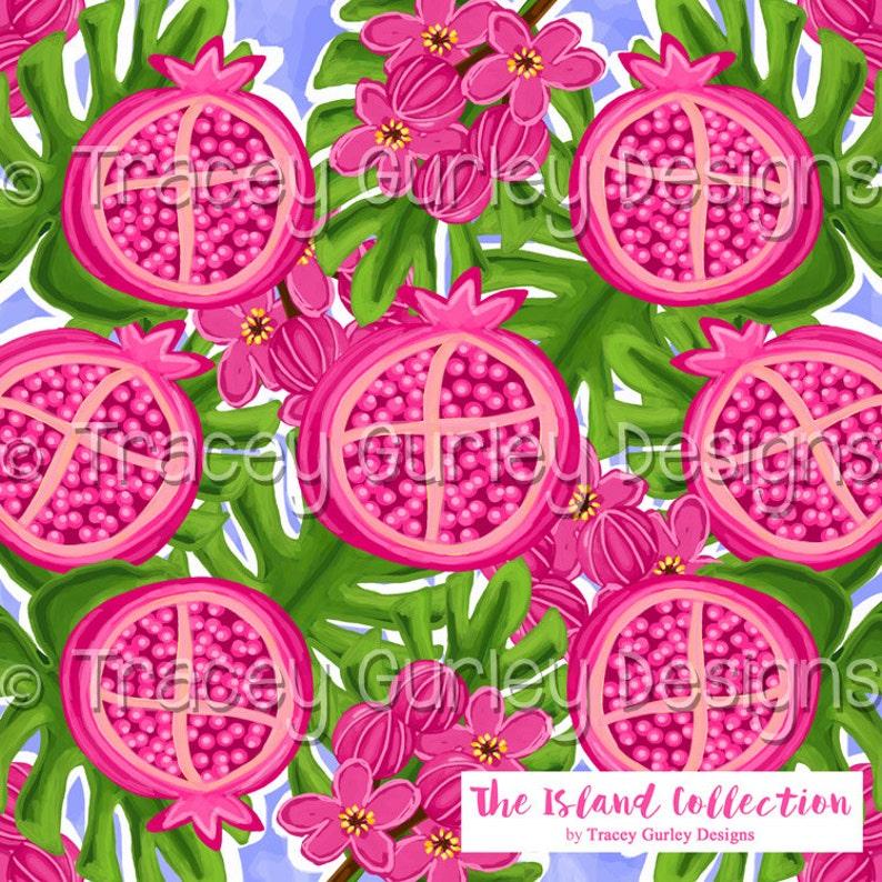 Pomegranate Art palm frond art fruit digital paper preppy image 0