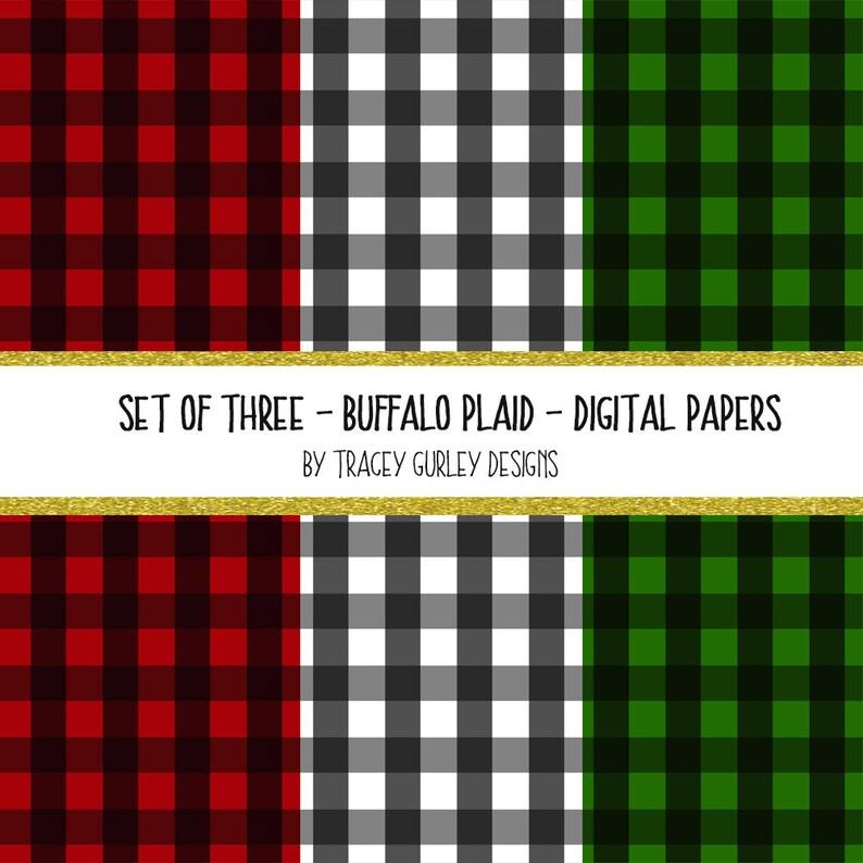 Buffalo Plaid digital paper Christmas digital paper image 0